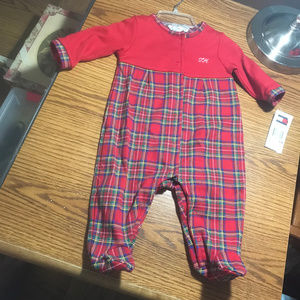 Tommy Hilfiger red & [laid footed sleeper 3-6M NWT